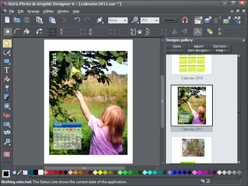 Making a photo calendar in Xara Photo & Graphic Designer 6. Screenshot provided by Xara Group Ltd. Click for a bigger picture!