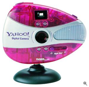 Yahoo!'s Digital Camera shown with PC stand attached. Courtesy of Yahoo! Inc. - click for a bigger picture!