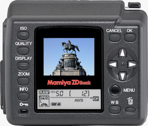 Mamiya's ZDb digital back. Courtesy of Mamiya, with modifications by Michael R. Tomkins. Click for a bigger picture!