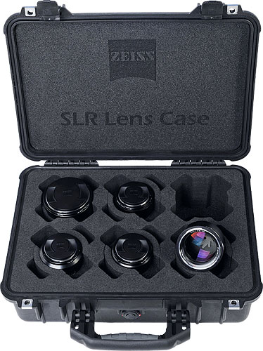 The new SLR Lens Case from Carl Zeiss with five lenses. Photo and caption provided by Carl Zeiss AG. Click for a bigger picture!