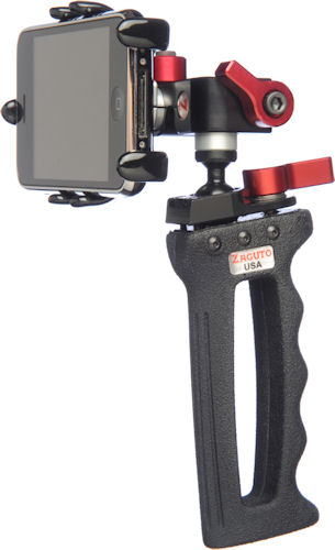 Several views of Zacuto's Zgrip iPhone PRO handgrip rig. Photo provided by Zacuto USA. Click for a bigger picture!