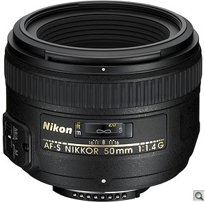 Nikon AF-S NIKKOR 50mm f/1.4G. Courtesy of Nikon, with modifications by Zig Weidelich. Click for a larger image.