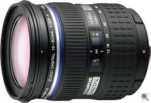 Olympus' Zuiko Digital ED 12-60mm f2.8-4.0 SWD lens. Courtesy of Olympus, with modifications by Michael R. Tomkins. Click for a bigger picture!