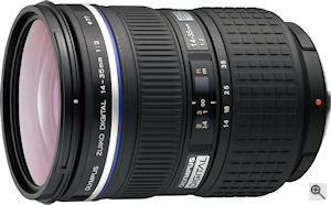 Olympus' Zuiko Digital ED 14-35mm f2.0 SWD lens. Courtesy of Olympus, with modifications by Michael R. Tomkins. Click for a bigger picture!