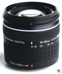 Olympus' Zuiko Digital ED 14 – 42 mm f3.5 – f5.6 lens. Courtesy of Olympus, with modifications by Michael R. Tomkins. Clck for a bigger picture!