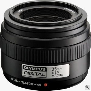 Olympus' Zuiko 35mm f3.5 lens. Courtesy of Olympus, with modifications by Michael R. Tomkins. Click for a bigger picture!