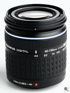 Olympus' Zuiko Digital ED 40-150mm f4.0-5.6 lens. Courtesy of Olympus, with modifications by Michael R. Tomkins. Clck for a bigger picture!