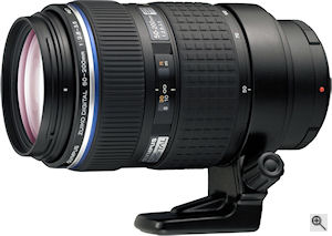 Olympus' Zuiko Digital ED 50-200mm f2.8-3.5 SWD lens. Courtesy of Olympus, with modifications by Michael R. Tomkins. Click for a bigger picture!