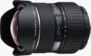 Olympus' Zuiko Digital 7-14mm F4.0 lens. Courtesy of Olympus, with modifications by Michael R. Tomkins. Click for a bigger picture!