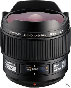 Olympus' Zuiko Digital ED 8mm F3.5 Full Frame Fisheye Lens. Courtesy of Olympus, with modifications by Michael R. Tomkins. Click for a bigger picture!