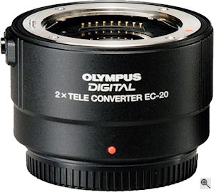 Olympus' Zuiko Digital 2x Teleconverter EC-20. Courtesy of Olympus, with modifications by Michael R. Tomkins. Click for a bigger picture!