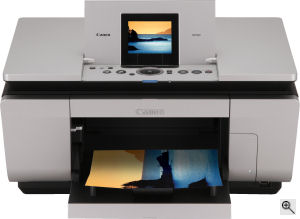 Canon's PIXMA MP960 all-in-one. Courtesy of Canon, with modifications by Michael R. Tomkins. Click for a bigger picture!