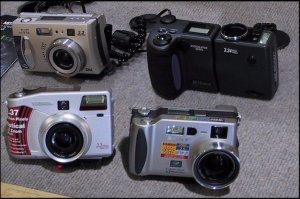 New cameras on display in the stores. (c)2000 David Kamanski, with modifications by Michael R. Tomkins