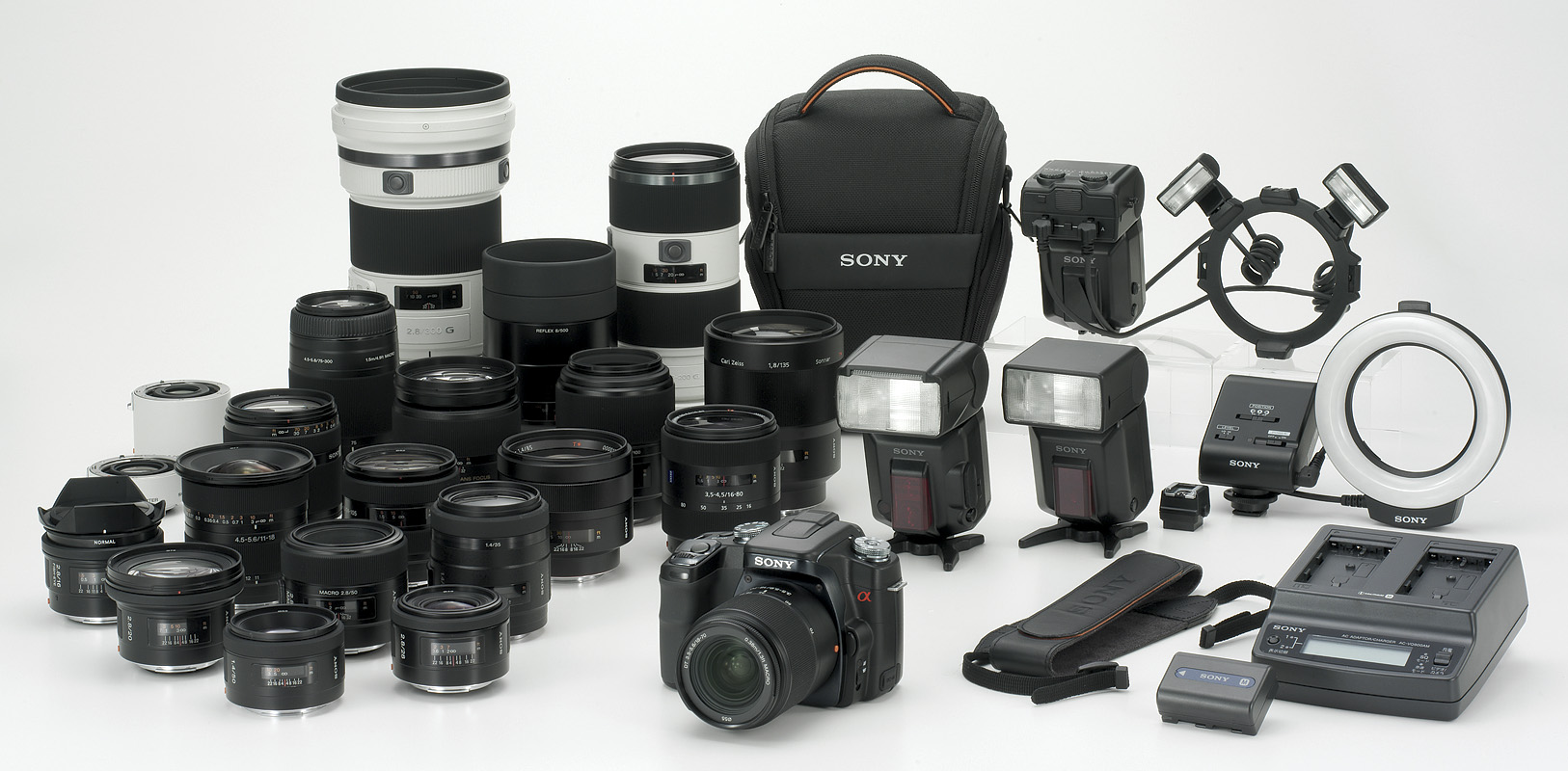 Camera Sony A100 Dslr Camera sony dslr a100 review full alpha system this image shows most of the main elements that will be available year including rapid chargers and flash