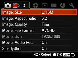 Sony DSLR-A580 Review - Modes & Menus
