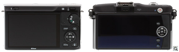 Nikon J1 vs Olympus E-PM1 Back