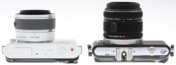 Nikon J1 vs Olympus E-PM1 Top