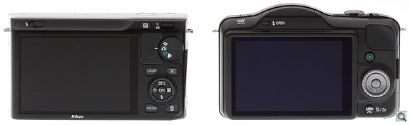Nikon J1 vs Panasonic GF3 Back