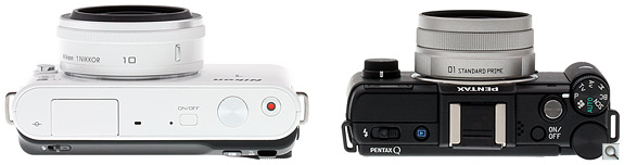 Nikon J1 vs Pentax Q Top