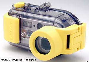 Sony's DSC-P1 digital still camera in the MPK-1 Marine Pack. Copyright 2000 Imaging Resource.