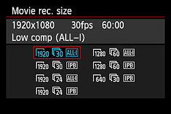 Canon 6D movie resolution options