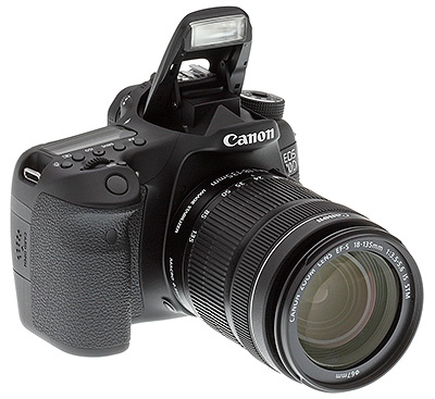 Canon 70D review -- Three quarter view with popup flash raised