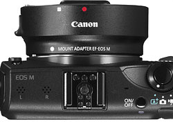 Canon EOS M review -- Mount adapter attached to camera
