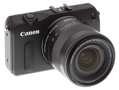 Canon EOS M review -- Front quarter view with lens