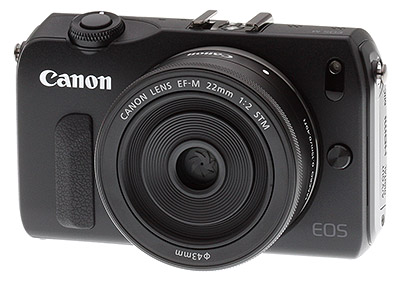 Canon EOS M review -- Front quarter view