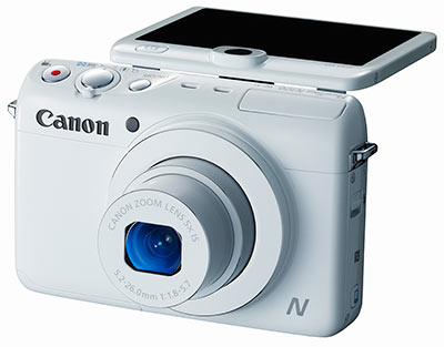 Canon N100 review - front quarter view