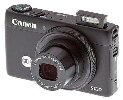 Canon S120 review -- angle left with flash