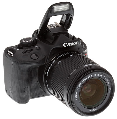 Canon SL1 review -- Front quarter view with flash deployed