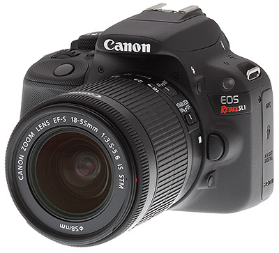 Canon SL1 review -- Front quarter view
