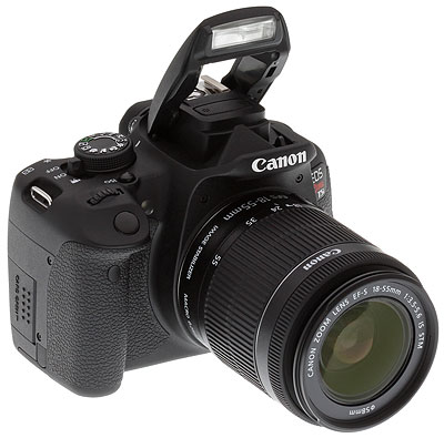 Canon T5i review -- Front quarter shot with 18-55mm lens and flash deployed