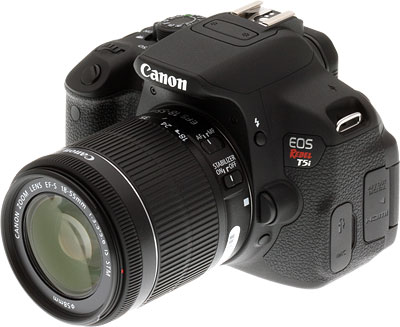 Canon T5i review -- Front quarter shot with 18-55mm lens