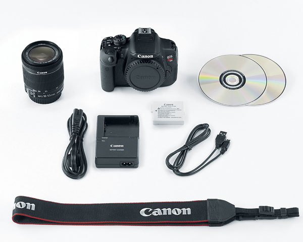 Canon T5i review -- Camera body with bundled accessories
