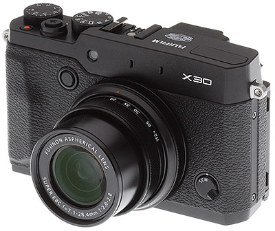 Fuji X30 review -- three quarter from left view