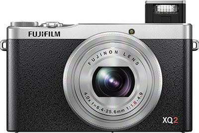 Fuji XQ2 Review -- Front view with flash
