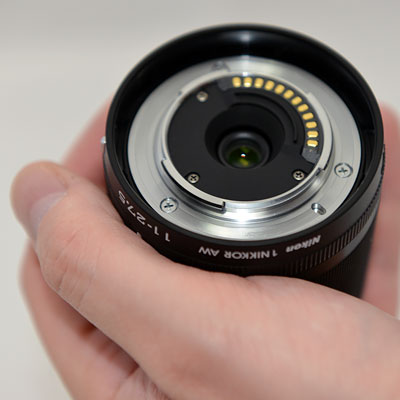 Nikon AW1 Review -- Lens in hand, showing mounting flange
