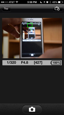 Nikon D5300 Review -- Wi-Fi app screen shot