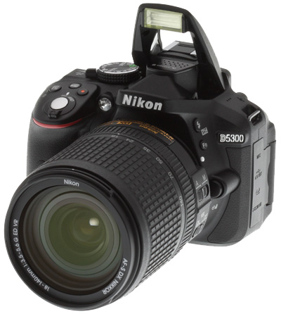 Nikon D5300 Review -- Front left view with flash deployed
