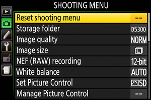 Nikon D5300 Review -- Shooting menu