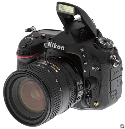 Nikon D600 with pop-up flash deployed
