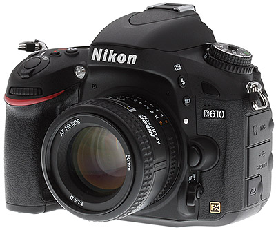 Nikon D610 Review -- Left three-quarter view