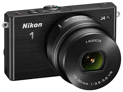 Nikon J4 Review -- 3/4 front view, black