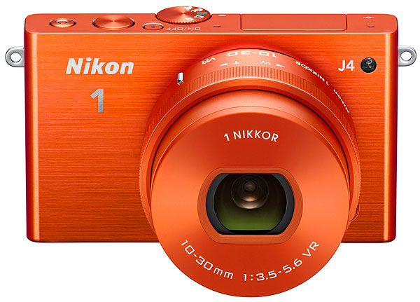 Nikon J4 Review -- top front view, orange