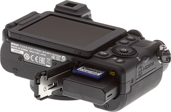 Nikon P7800 Review -- Bottm view showing battery and memory card
