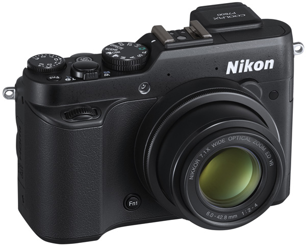 Nikon P7800 review -- Front quarter view