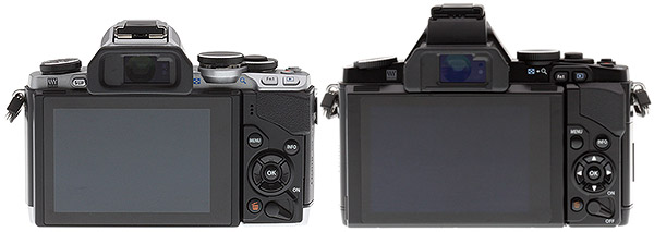 Olympus E-M10 Review - E-M10 vs E-M5 rear view