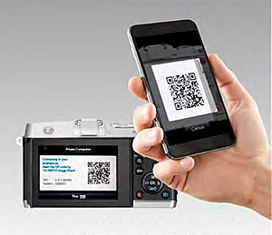 Olympus E-P5 Review - Wi-Fi setup with QR code